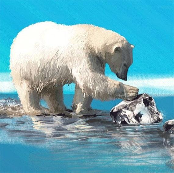 Art Print Polar Bear Global Warming 8 x 10 inches