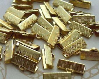 16mm crimp, Gold Metal Crimp, Ribbon Crimp End, Necklace crimp, cord end clasp, ribbon clamp, leather crimp end, necklace crimp
