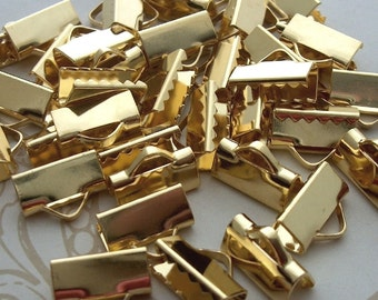 16mm crimp, Gold Ribbon Crimp, Metal clamp, Ribbon crimp end, Leather crimp end, Necklace crimp, cord end clasp, ribbon clamp, ribbon clasp