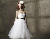 Tulle wedding dress Sweetheart Strapless Tea Length Cotton and Tulle Party Dress - A Whimsical Spring by Ouma