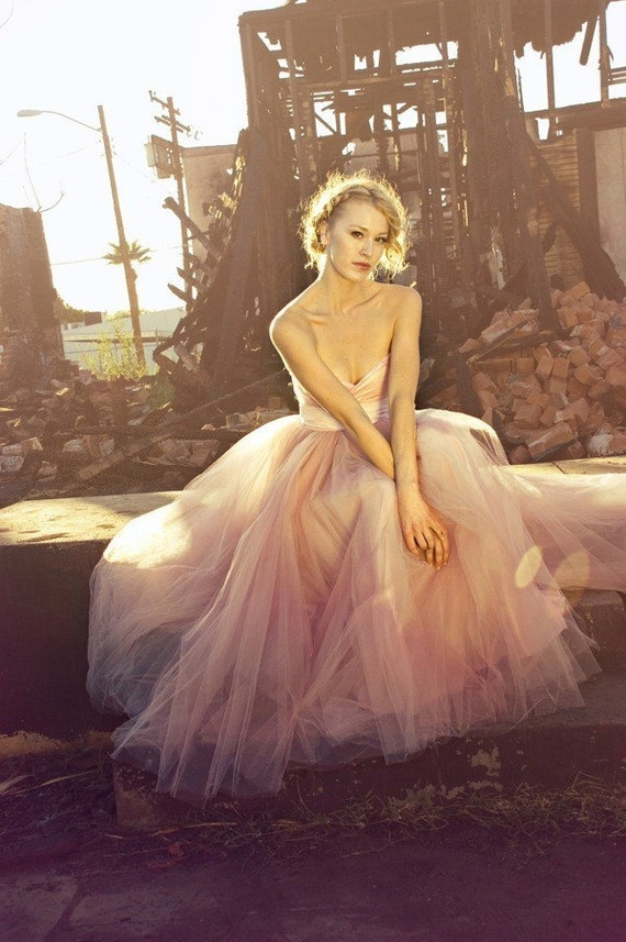 Blush Sweetheart Strapless Floor length Tulle Wedding Dress - Blushing in Pink by Cleo and Clementine