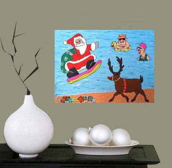 "Christmas-Madness... original painting, 6.7x9.4"", 17x24 cm, acrylic, paper, x-mas, beach, fantasy"