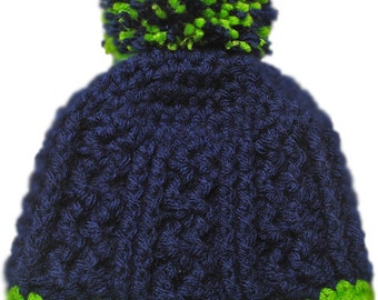 Crochet baby hat,  baby boy hat, kids hat, ready to ship, navy blue hat, pompom hat, baby boy beanie, Kids pompom hat
