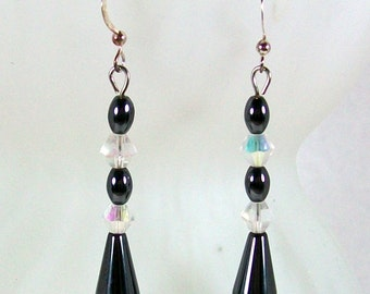 Long Dangle Earrings / Hematite Earrings / Drop Earrings /  Hematite Jewelry / Handmade Earrings / Crystal Earrings / Beaded Earrings