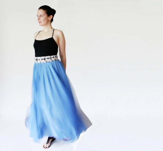 Saved for Karleeanna - Maxi skirt in sky blue bamboo jersey with silk waistband - size small