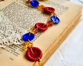 Sale - Vintage Button Bracelet - Plastic Bangle Bracelet - Retro Whispering Amber