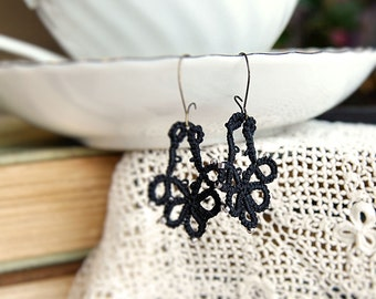Tatted Earrings Lace Jewelry Black Ebony Grey Darkness