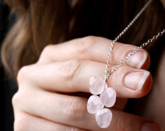 Girlfriend Gift Necklace . Romantic Gift Necklace . Rose Quartz Pendant Necklace . Rose Quartz Necklace - Estelle Collection