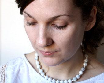 Beaded Stone Necklace . White Howlite Necklace . 16 inch Necklace . White Gemstone Necklace . White Bead Necklace - Arcadia Collectio