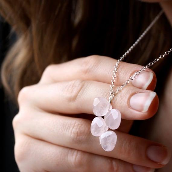 Rose Quartz Teardrop Necklace . Rose Quartz Necklace . Pink Gemstone Necklace . Rose Quartz Pendant Necklace - Champagne Rose Collection