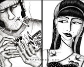 FRANK and his OLD LADY (black & white) // fine art print set of 2