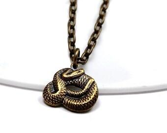 Snake Necklace, antiqued brass snake, snake charm, snake pendant, snake jewelry, antiqued brass snake necklace, small snake necklace