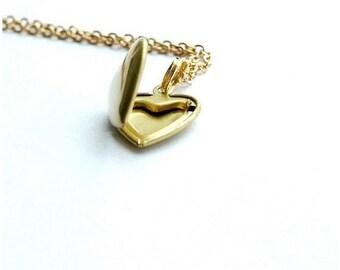 Heart Locket Necklace, brass heart locket, gold locket necklace, brass locket, mom gift, mother's day gift, sister gift, best friend gift