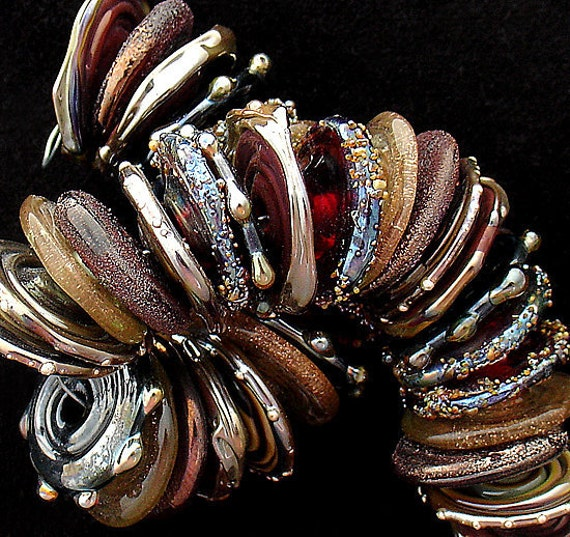 Glass Beads Lampwork Beads For Bracelets Statement Necklace Beads For Jewelry Supplies Copper Beads Disc Beads Jewelry Debbie Sanders