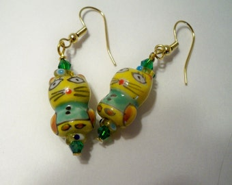 Cat Earrings Yellow & Green Painted Glass Beads with Vintage Asian Look