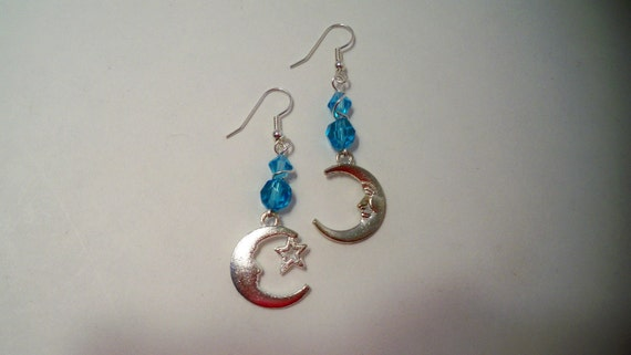 Moon & Star Earrings with Silver and Pewter Crescent Moon Charms and Blue Crystal Beads