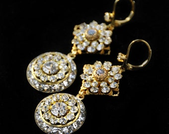"""Sparkling Earrings with Rhinestones and Golden Luster for Special Events Weddings Anniversaries Proms, """"Shimmer, Shine and Sparkle"""""""