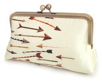 Yellow arrows clutch bag, silk purse, red arrow