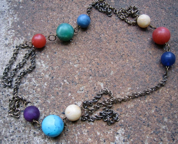 Eco-Friendly Statement Necklace - Fancy Free - Recycled Multi-Colored Faux Stone Vintage Beads and Dark Brass Chain