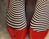 Halloween Photograph, Witch Photo, Large Art, Red Shoes, Stripes, Black and White, Gothic Photo, Dark Art