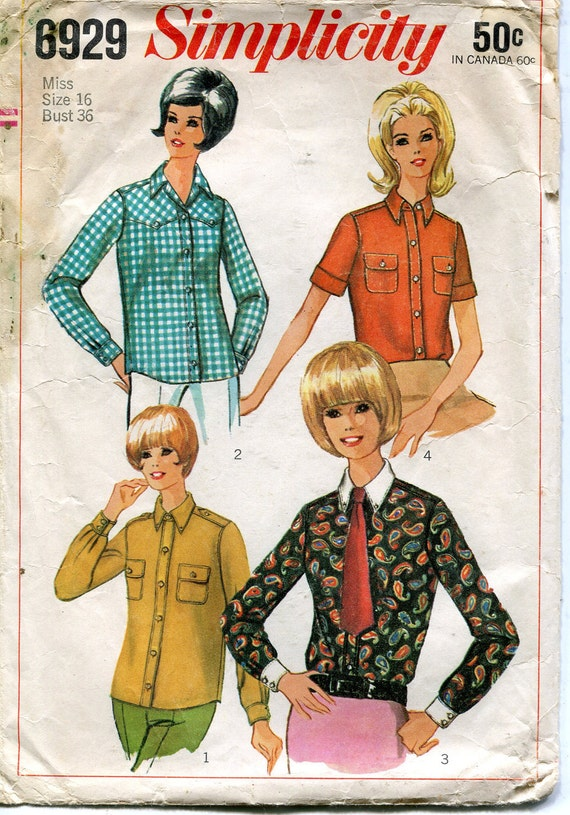 Vintage 1960s Shirt Pattern, Simplicity 6929, Size 16, Bust 36