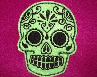 Mexican Day of the Dead Sugar Skull Patch Embroidery lime and black