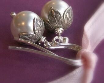 Flower bud pearl earrings, Swarovski Crystal pearls, leaf bead caps, solid sterling silver earrings, small dangle