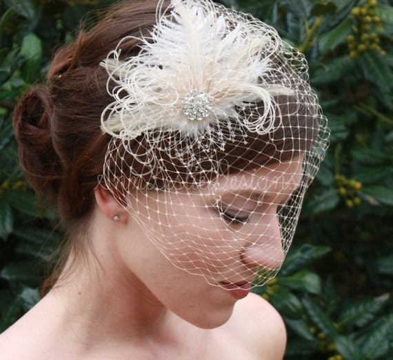 As Seen in Polka Dot Bride Champagne Birdcage Veil with Ostrich Feather Wedding Fascinator