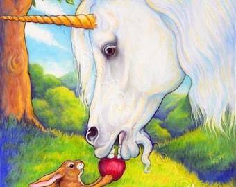 Unicorn, Fairy Tale, Fine Art Print, Fantasy White Horse, Bunny