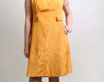 Vintage A-Line Dress - 1960s Twiggy Honey Mustard Yellow Dress - Large