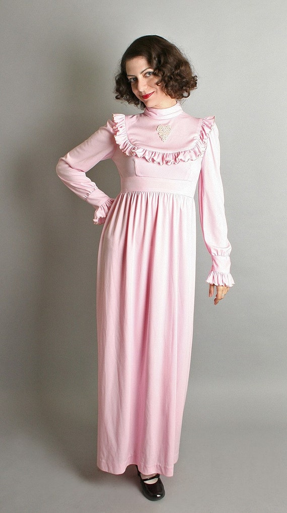 1970s Pink Maxi Dress Pastel Vintage Dolly Dress Gown - Small Sweetheart Spring Fashion Flounce