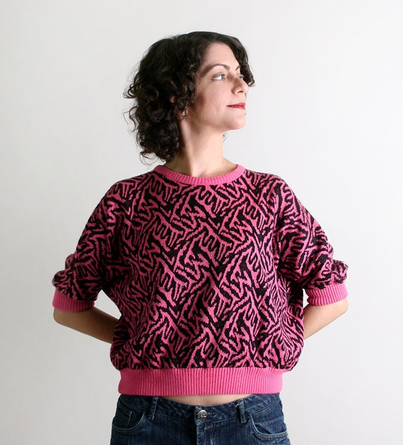 Vintage Neon Animal Print Sweater - Hot Pink and Black 1980s Wild Design - Small