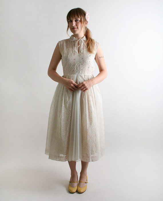 1950s Rhinestone Dress Vintage Ivory White with Pink Floral Design - Small Wedding Reception Dress