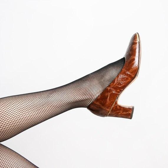 Vintage 1940s Heels - Frank More Caramel Brown Reptile Style Heels - US 5
