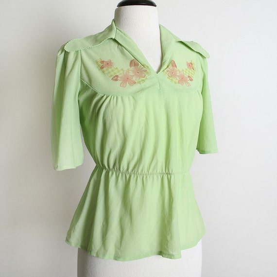 Vintage 1970s Blouse Sheer Pastel Neon Mint Green Peter Pan Pixie