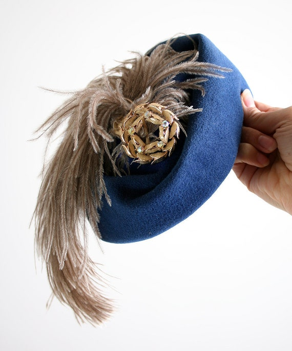 Vintage Feather Hat - Cocktail Hat Stunning Royal Blue Ostrich Fashion - Sapphire