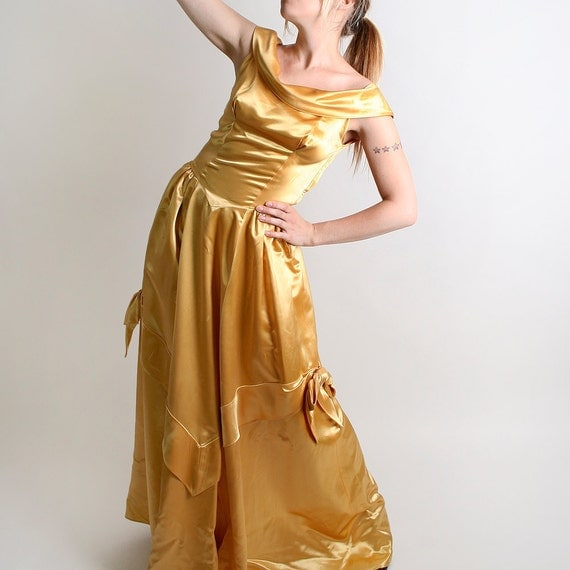 1940s Prom Dress - Vintage Marigold Golden Princess Cupcake Bows Belle Small to Medium - Honey Gold Costume Queen