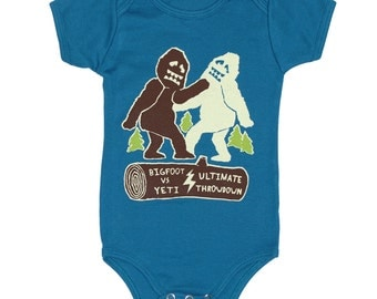 Bigfoot vs Yeti Baby One Piece Bodysuit Romper Jumper Sasquatch Forest Cool Funny Awesome Organic Blue Onesie