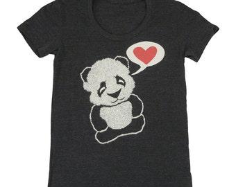 Panda Bear - Womens Girls T-shirt Tee Shirt Cute Adorable Vintage Retro Love Pandas Red Heart Zoo Fuzzy Animal Tri Black Valentines Tshirt