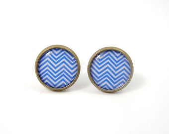 Blue Chevron Stud Earrings,Blue Post Earrings,Chevron Jewelry,Geometric Earrings,Zig Zag Earrings,Everyday Earrings (E182)