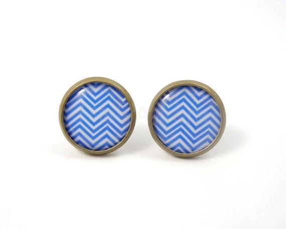 Blue Chevron Stud Earrings,Blue Post Earrings,Chevron Jewelry,Geometric Earrings,Zig Zag Earrings,Everyday Earrings (E182)