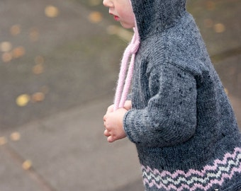 Candy Floss - Hooded Sweater with Pompom Ties - Little Cupcakes by lisaFdesign - Download Now - Pattern PDF