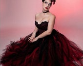 Gothic wedding tutu tulle skirt Streamer floor length formal red black bridal goth vampire costume --You Choose Size -- Sisters of the Moon