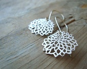 Silver Chrysanthemum Earrings Sterling Metalwork Modern Asian Style Long Dangles Gifts Under 30 Zen Jewelry Silver Flowers Floral Kiku