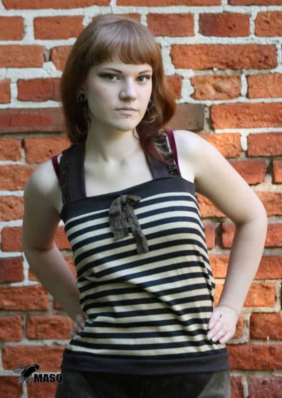 Sale MASQ Steampunk shirt brown and sand stripes tube top wirh straps. Size M