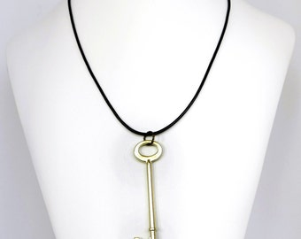 Steampunk Brass Skeleton Key Unisex Necklace with Black Leather Cord by Velvet Mechanism