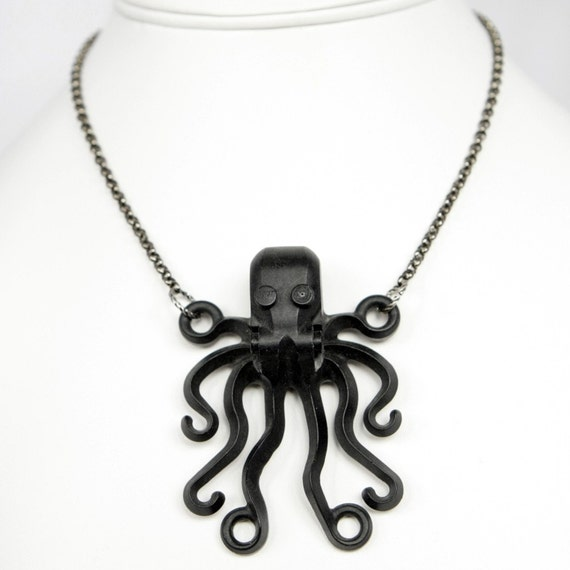 Steampunk Dramatic Black Octopus Necklace Cthulhu Tentacles by Velvet Mechanism
