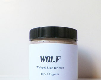 Creamy Body Wash, Wolf for Men, Whipped Soaps, Man Soap, Cream Soaps, Foaming Bath Whip, 4 oz, Body Washes, Soap in a Jar, by fairybubbles