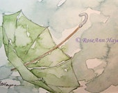 Green Umbrella in the Rain Watercolor Print
