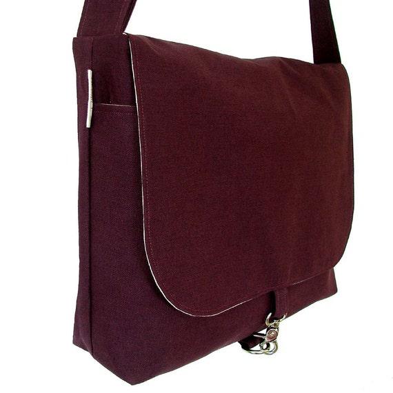 Mens Messenger Bag - Plum & Gray Canvas 17 inch Laptop